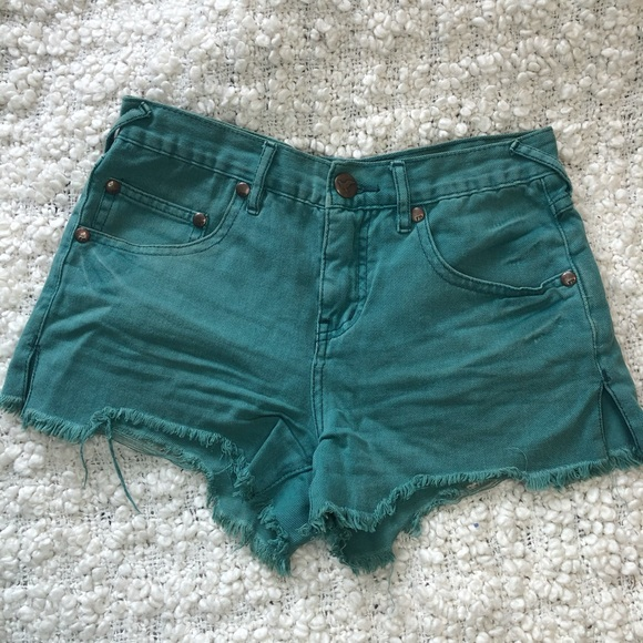 Free People Cut Off Green Jean Shorts 25